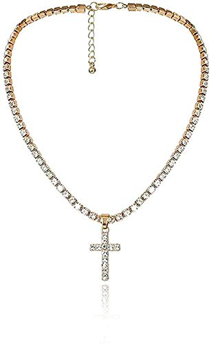 NC188 Necklace Jewelry Crystal Cross Pendant Necklace Vintage Jesus Link Chain Choker Necklace Christian Charm Necklaces