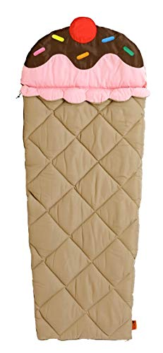 Instantly Inspired Kids Sleeping Bag Pink Ice Cream Cone Sprinkles Slumber Bag with Carrying Bag by Ozark Trail