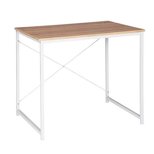eSituro Muebles de Oficina Mesa de PC Escritorios de Ordenador Trabajo de Madera y Acero, con Estante 80 x 60 x 70cm Roble Claro/Blanco SCD0074
