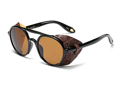 Side Shield Vintage Retro Steampunk Sunglasses Classic Round Circular Glasses (Brown, 51)