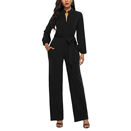 Ophestin Womens Long Sleeve Jumpsuit for Work Wide Leg Pants Rompers with Belt Black Size L