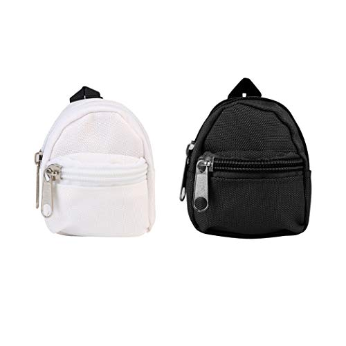 Bageek 2PCS Doll Backpack Cute Zipper Adorable Doll Schoolbag Doll Bag Mini School Backpack for Dolls Accessories Black and White