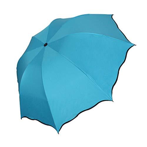 QinWenYan Paraguas Plegable 21 Pulgadas de Tres Paraguas Plegable de plástico Negro Umbrella 3 Series para Viajar (Color : Sky Blue, Size : 25x5x5cm)