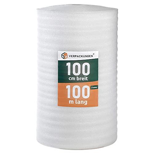 BB-Verpackungen 100 m² Trittschalldämmung 1,0 x 100 m (3 mm stark, sehr gute Schall- und Wärmedämmung) - Sets zwischen 25 m² und 500 m²