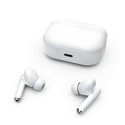 Auriculares Bluetooth, Auriculares Inalámbricos Estéreo 3D con Micrófono, HONFAY IPX5 Control Táctil Cascos Inalambricos Bluetooth Deportivos, Cancelación de Ruido/25H Playtime/Type C - Blanco