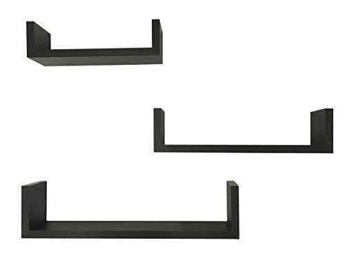 Set Of Two U Shaped Espresso Finish Wall Mounted Book Shelves