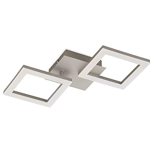 EGLO LED Deckenleuchte Huerta, Wohnzimmerlampe Modern, 2 flammige Deckenlampe, Küchenlampe aus Metall in Nickel-Matt, Kunststoff in Weiß, LED Schlafzimmerlampe warmweiß , L x B 33 cm