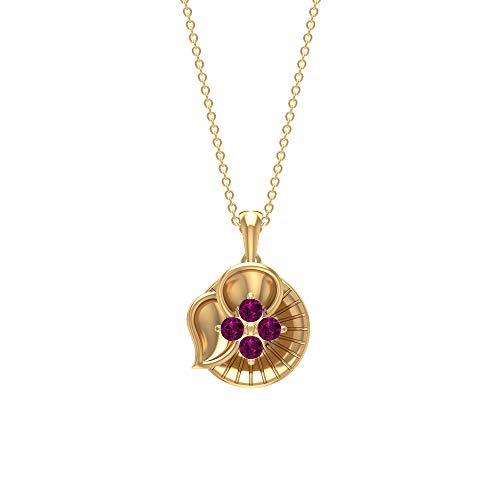 Rosec Jewels 18 quilates oro amarillo redonda rodolita