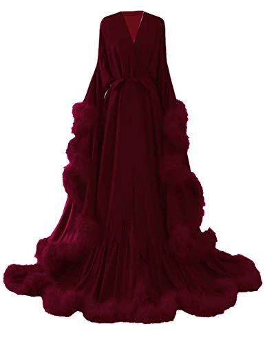 yinyyinhs Feather Bridal Robe Wedding Scarf Long Lingerie Robe Nightgown Bathrobe Sleepwear Burgundy Size S/M