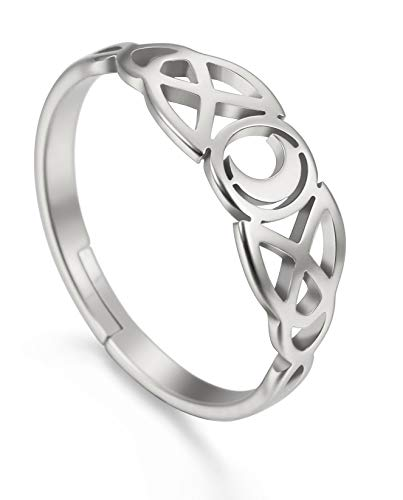 Amaxer Irish Celtic Moon Adjustable Women Ring Stainless Steel Silver/Gold/Rose Gold Jewelry Silver…