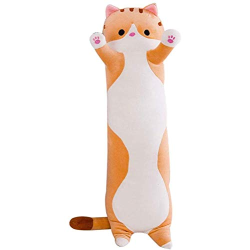 Tianbi Almohada para Dormir de Gato Juguetes de Peluche Lindas Almohadas de Felpa Muñeca de Gato Suave Comodidad Cojín para Dormir Cama Juguetes de Muñeca de Gato de Algodón Largo