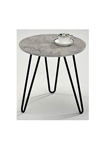 Meubletmoi salontafel, rond, voet van metaal, vintage, beton-effect, moderne industriële stijl Luna 45