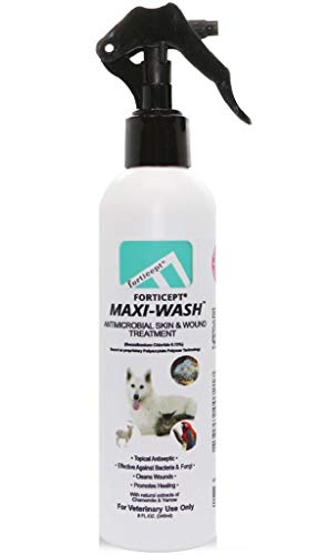 Forticept Maxi-Wash Antiseptic Antifungal Antibacterial Medicated Itch Relief Hot Spot Spray for Dogs & Cats|First Aid Skin and Paw Cleanser | Wounds Treatment 8 oz
