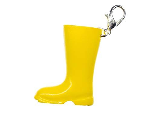 Miniblings Gummistiefel gelb Charm Stiefel Regen Garten - Handmade Modeschmuck I Kettenanhänger versilbert - Bettelanhänger Bettelarmband - Anhänger für Armband