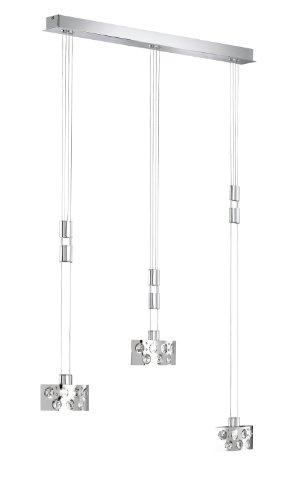 Wofi Pendelleuchte-Dress, 3-flammig, Breite-84 cm, Max. Abhängung-150 cm, Höhenverstellbar, chrom, 7200.03.01.0000