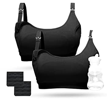 Momcozy Pumping Bra Hands Free Pumping Bras for Women 2 Pack Supportive Comfortable All Day Wear Pumping and Nursing Bra in One Holding Breast Pump for Spectra S2 Bellababy Medela etc