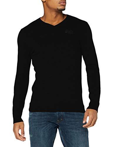 Superdry Herren Orange Label Vee Neck Pullover Sweater, Schwarz, L EU
