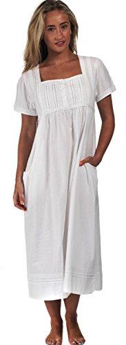 The 1 for U 100% Cotone Camicia da Notte - Lara - con Tasche - Bianco, Bianco, XL