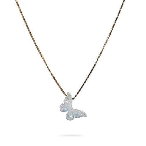 Collana girocollo con farfalla opale - Collana con ciondolo a farfalla bianca Collana in oro con prolunga da 16 + 2 pollici - Gioielli con opale delicato per le donne