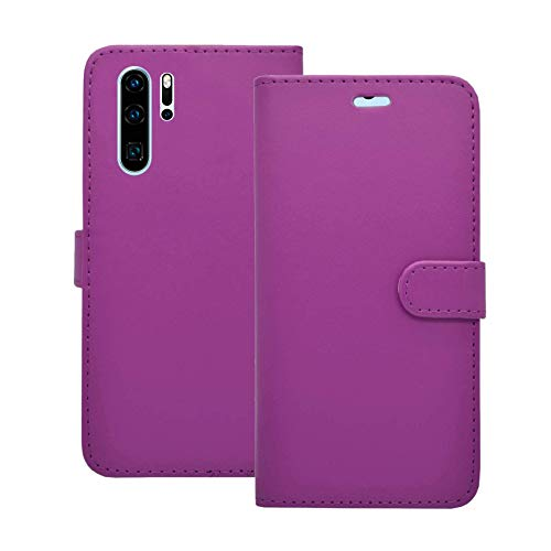 Carcasa Compatible Con Huawei P30 Pro Violeta Libro Cartera Soporte Cuero De PU Tarjeta Ranura Bolsa Funda para Teléfono
