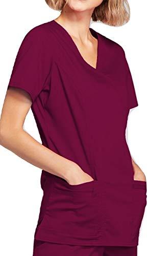 Smart Uniform 1125 Mock Wrap Top (L, Wine)