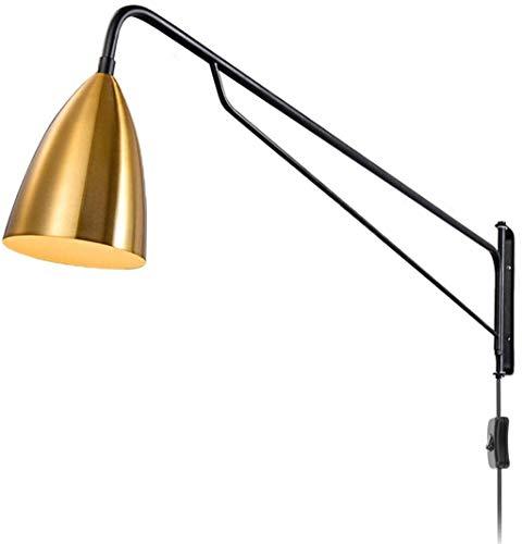 Aplique de pared industrial / Sala de estar lámpara de pared de metal Negro retro E27 ligero de la pared de brazo largo con interruptor y enchufe, 2.0M cable, Lámpara de lectura de la pared interior d