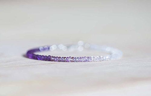 amatista natural, zafiro y piedra lunar arcoíris de 3-3,5 mm cuentas facetadas rondelle con cierre plateado pulsera de 7 pulgadas para unisex. Pulsera de abalorios para regalo, prosperidad, curación.