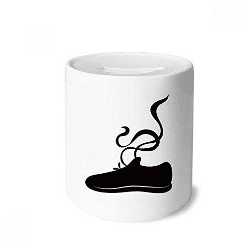 DIYthinker Sapatos esportivos masculinos com estampa de contorno preto caixa de dinheiro caixa de cerâmica porta-moedas presente de cofrinho