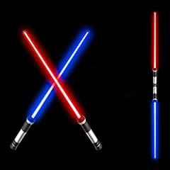 PACKING INCLUD: 2-in-1 lightsaber includ 2 Pack LED Sword (26 inches each) and one double blade dual connector.you can connect two light up Saber together with the connector for more fun playing, Batteries are not included(For safer transportation) A...