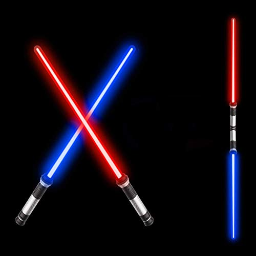 Beyondtrade 2-in-1 Light Saber Sword for Kids,Anti-Breaking LED Lightsaber FX Dual Saber with Sound (Motion Sensitive) for Galaxy War Fighters and Warriors,Halloween Costume Accessories,Xmas Presents