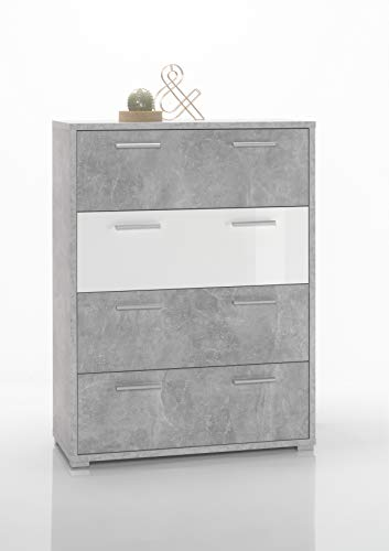 """moebel-guenstig24.de Kommode Sideboard Highboard Mountain 3\"""" Büro Badezimmer Flur grau Beton weiß 85 cm"""