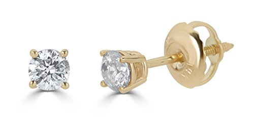 AGS Certified 14k Yellow Gold Round-Cut Diamond Stud Earrings (1cttw, J-K Color, I2-I3 Clarity)