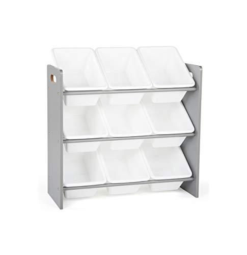 Tot Tutors Toy Organizer, 9 Bin Storage, Grey/White, 24' Tall