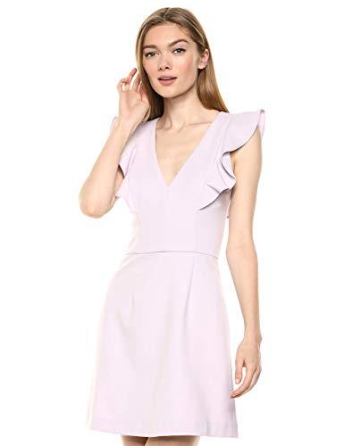 French Connection Women's Whisper Light Ruffle Dress, Lavender Frost V-Neck, 12 (Apparel)
