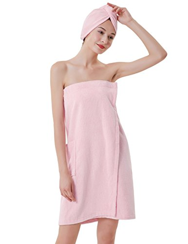 Women's Towel Wrap Bathrobe Terry Cloth Cover Up for Ladies Pink S
