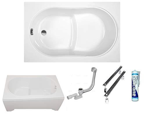 ECOLAM Badewanne Sitzbadewanne Wanne Rechteck Acryl weiß Wivea 130x75 cm + Schürze Ablaufgarnitur Ab- und Überlauf Automatik Füße Silikon Komplett-Set (130 x 75 cm)