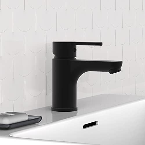 SCHÜTTE 44106 DENVER Waschtischarmatur, Mischbatterie mit Pop-Up Ventil, Einhebelmischer Badezimmer, Wasserhahn Bad für das Waschbecken, Schwarz matt