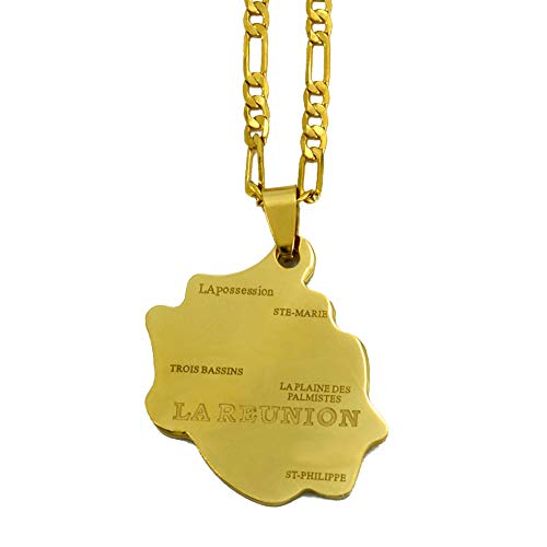 Collar De Mapa,Ein Weltkarte Halskette,Map Necklace,Stylish French Reunion Island Map Golden Metal Pendant Necklace Bohemian Bling Unique Ethnic Charm 60Cm Chain Jewelry For Women Man Travel Commemo