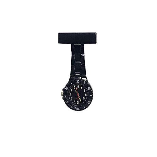 KJFB - Broche para enfermera de enfermera, pin de solapa con clip, reloj de bolsillo médico para colgar hombres y mujeres, reloj de bolsillo para médicos, reloj de bolsillo Sporter (color negro)