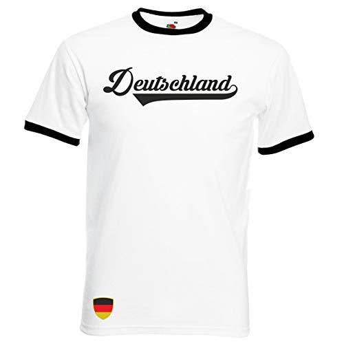 Aprom Deutschland Ringer Retro TS WM EM Soccer T-Shirt Trikot Look BRD (M)