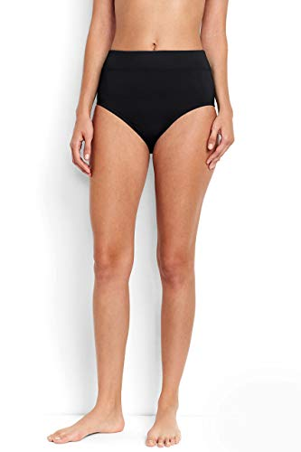 Lands' End Women's Tummy Control High Waisted Bikini Bottoms 10 Black