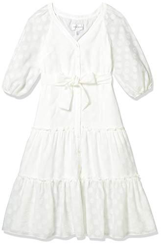 Donna Morgan Women's Petite 3/4 Sleeve Textured Clip Dot Midi Dress, White, 4P