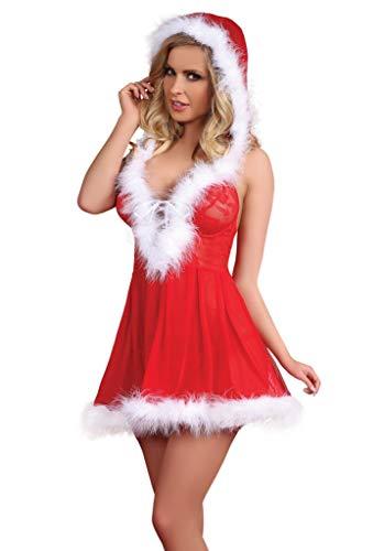 Selente Love & Fun luxuriöses mehrteiliges Damen Dessous-Set in raffiniertem Weihnachts-Design, mit Satin-Augenbinde Made in EU, Kleidchen-Panty, Gr. S/M