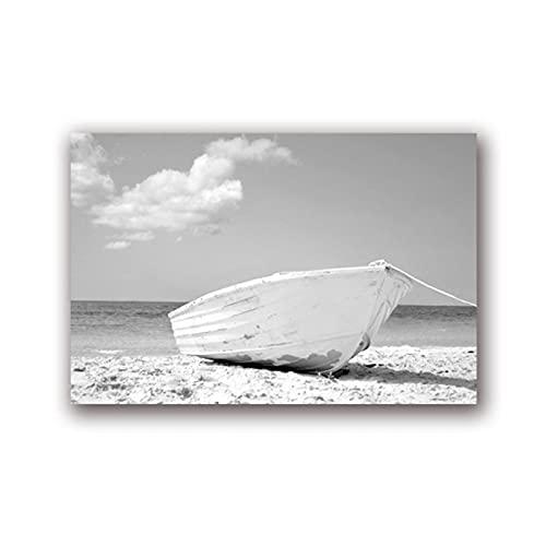 Lefgnmyi Barco blanco Fotografía Arte de la pared Impresiones Foto de la costa Decoración de la playa Arte náutico Pintura de la lona Paisaje marino Decoración de la pared-20x32 IN Sin marco