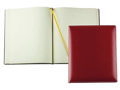 DELMON VARONE - Personalisierbares Gästebuch gebunden in Premium Cambridge Leder rot - Blanko Buch...