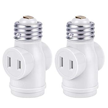 DiCUNO UL Listed E26 to 2 Polarized Outlet Socket Adapter Standard  Medium  E26 Base Light Bulb to 2-Prong Outlet Plug Splitter Converter White 2-Pack