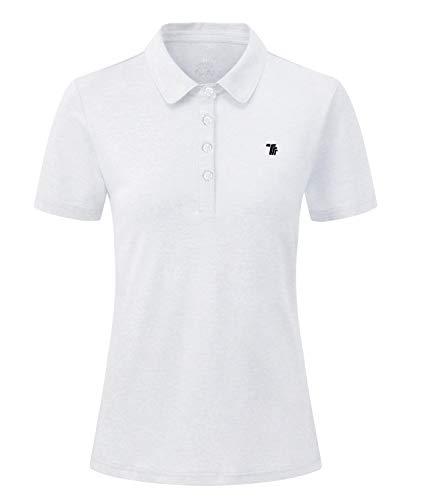 YSENTO Womens Short Sleeve Polo Lady fit Shirt Premium Sports Golf Polo T ShirtsWhiteXXL