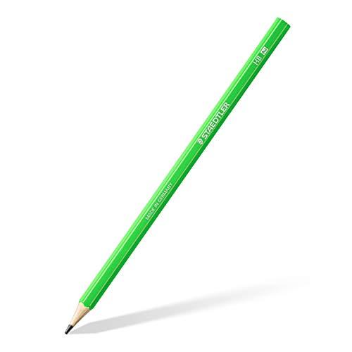 STAEDTLER Bleistift Noris eco, hohe Bruchfestigkeit, rutschfeste Soft-Oberfläche, innovatives Wopex-Material, Härtegrad HB, Kartonetui mit 12 Stück, Schaftfarbe neon-grün, 180 HB-F50