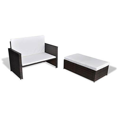 3 in1 Poly Rattan Braun Lounge Gartensofa Gartengarnitur, Rattan-Lounge, Indoor & Outdoor, 2er Garten-Sofa inkl. Kissen & Auflagen,Sofa-Set Garnitur Gartenmöbel Couch-Set