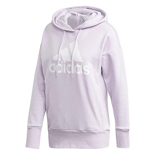 adidas Damen Badge of Sport Long Overhead Hoodie, Purple Tint/White, XL